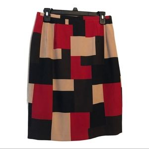Harve Benard Red Brown Patchwork Pencil Skirt